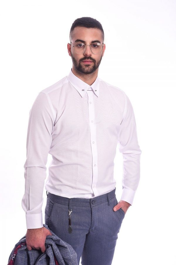 Basic Slim Fit Košulja od Pamuka - Bela