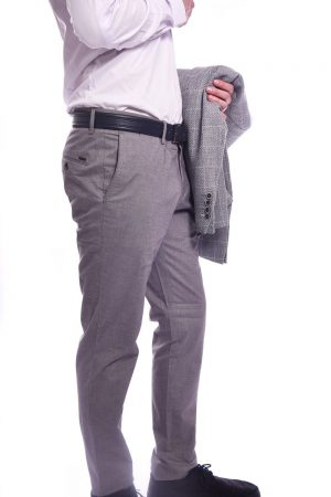 Muške Slim Fit Sive Pantalone